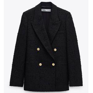 NEW Zara Black Tweed Weave Blazer Jacket with Gold